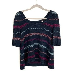 Free People Striped Half Sleeve Pullover Sweater